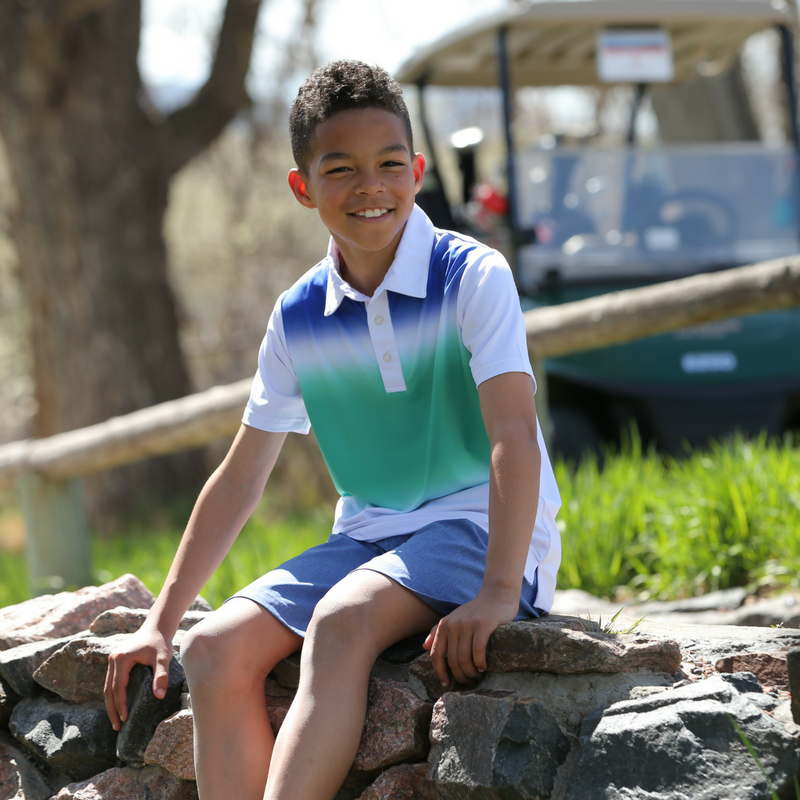 Lifestyle photo of Colton - Boys Performance Golf Gradient Polo by Garb Kids Golf Apparel