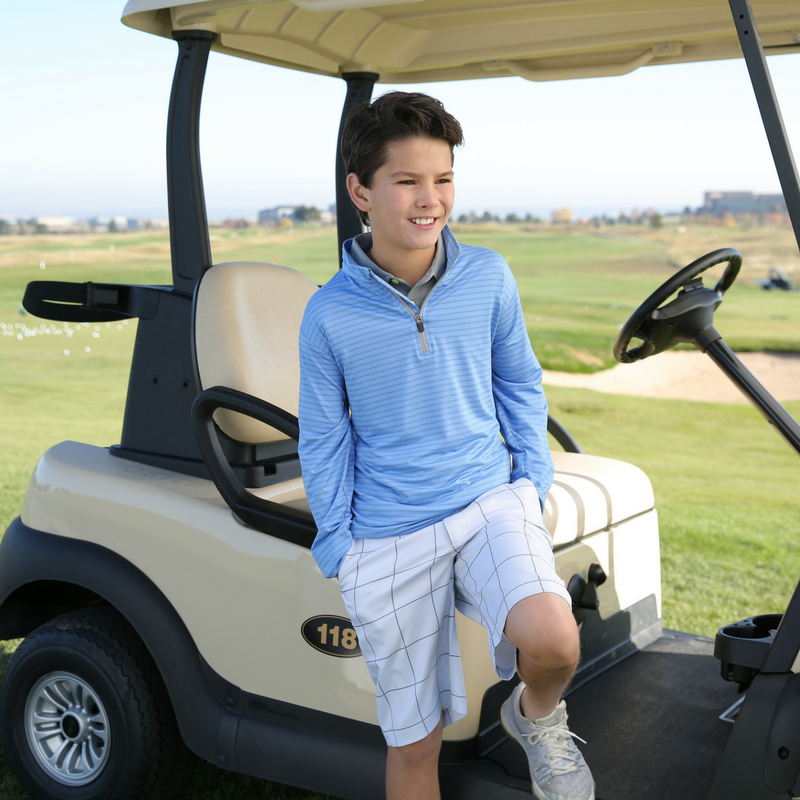 "Junior Golf Apparel by Garb Glenwood Collection ""Palmer"" Pullover Golf Jacket and ""Bentley"" Hybrid Swim & Golf Shorts"