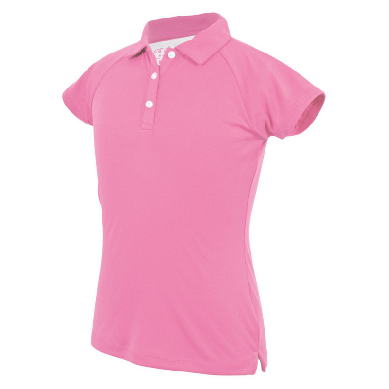 """Beth"" Solid Pink Youth Girls Golf Polo with Moisture Wicking Fabric and 4-way stretch by Garb"