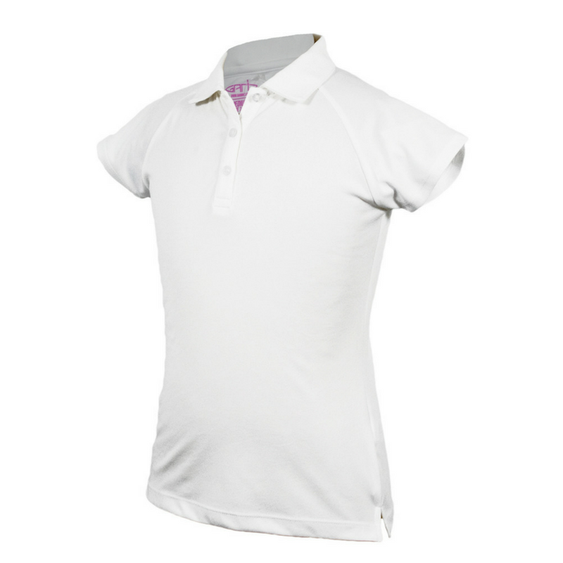 """Beth"" Solid White Youth Girls Golf Polo with Moisture Wicking Fabric and 4-way stretch by Garb"
