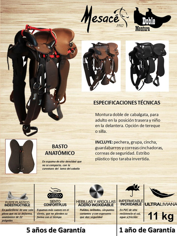 SILLA O TEREQUE DOBLE ADULTO/NIÑO IMPERMEABLE MESACE REF. 71083502 + 2 OBSEQUIOS