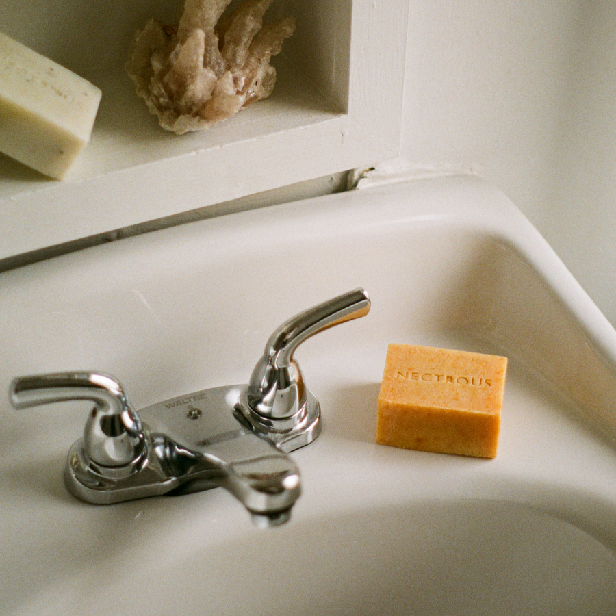 Nectrous glow soap bar on sink available at Rook & Rose in Victoria BC.