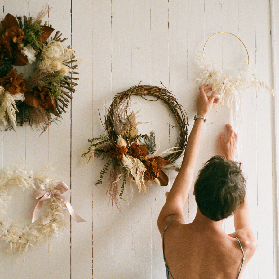 Crescent rustic dried floral wreath available at Rook & Rose.