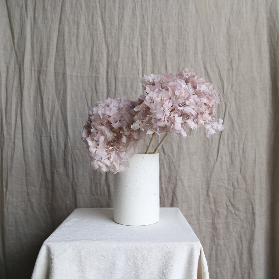 Lilac preserved hydrangeas in white textured vase available at Rook & Rose in Victoria BC.