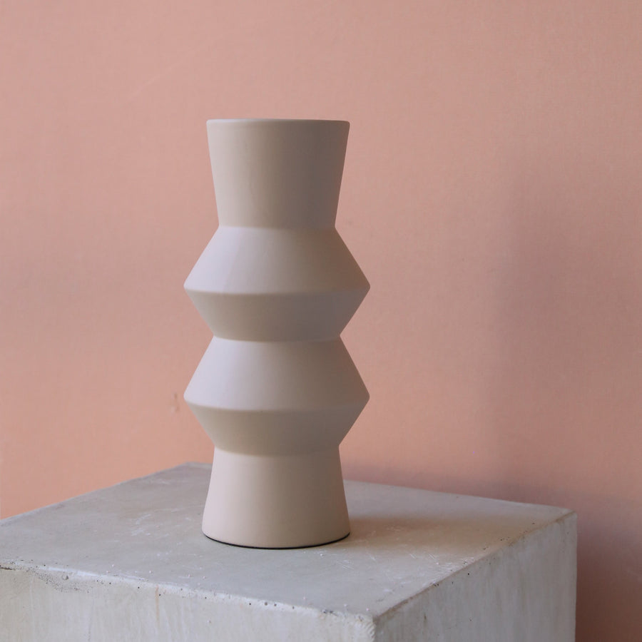 Ceramic almond totem vase available at Rook & Rose