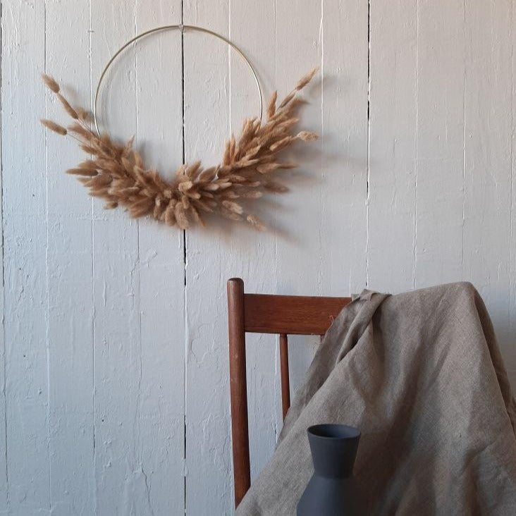 Dried bunny tail wreath available at Rook & Rose.