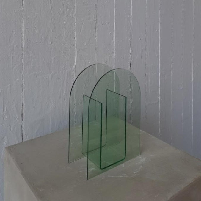Clear water acrylic arch vase available at Rook & Rose.