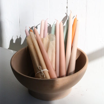 Red clay taper candles available at Rook & Rose