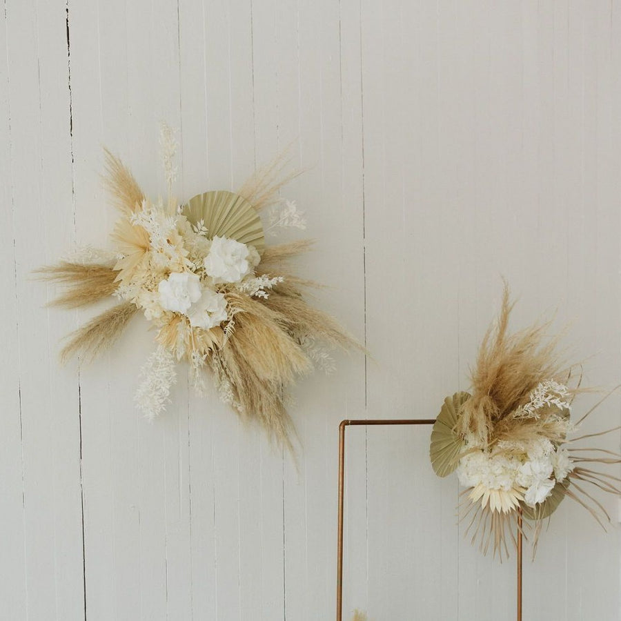 Large dried floral wall hanging available at Rook & Rose.
