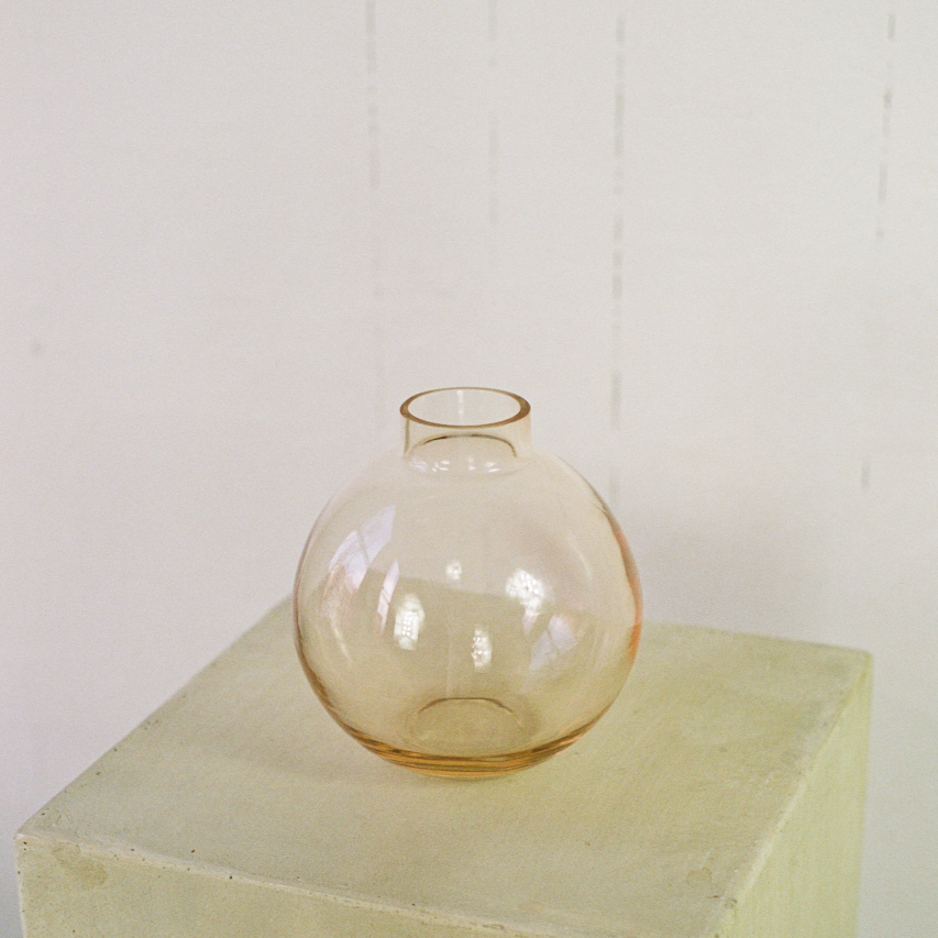 6 inch round glass vase available at Rook & Rose