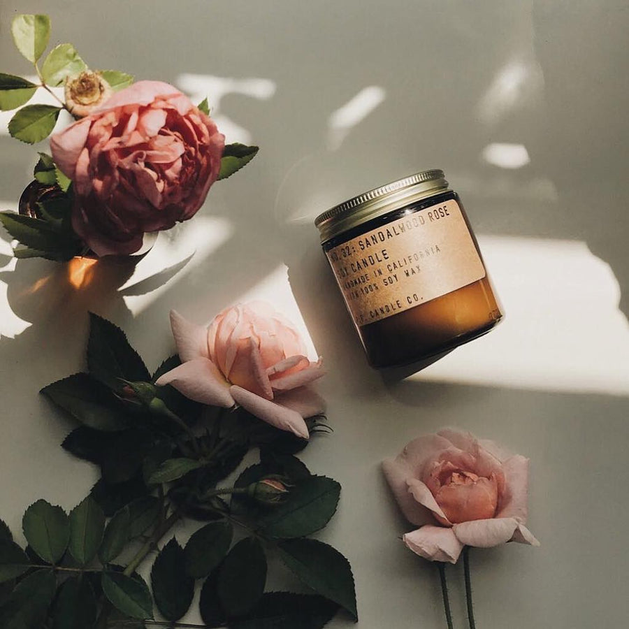 P.F. Candle Co. sandalwood rose candle available at Rook & Rose