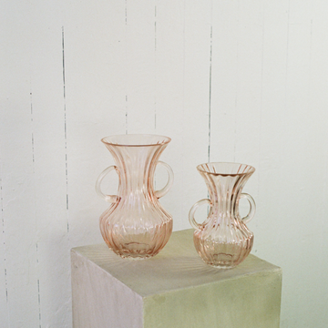 6 inch pink glass vase available at Rook & Rose