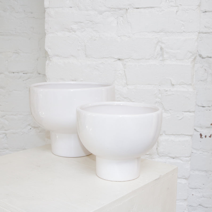 White glazed ceramic round vase available at Rook & Rose in Victoria, British Columbia, Canada