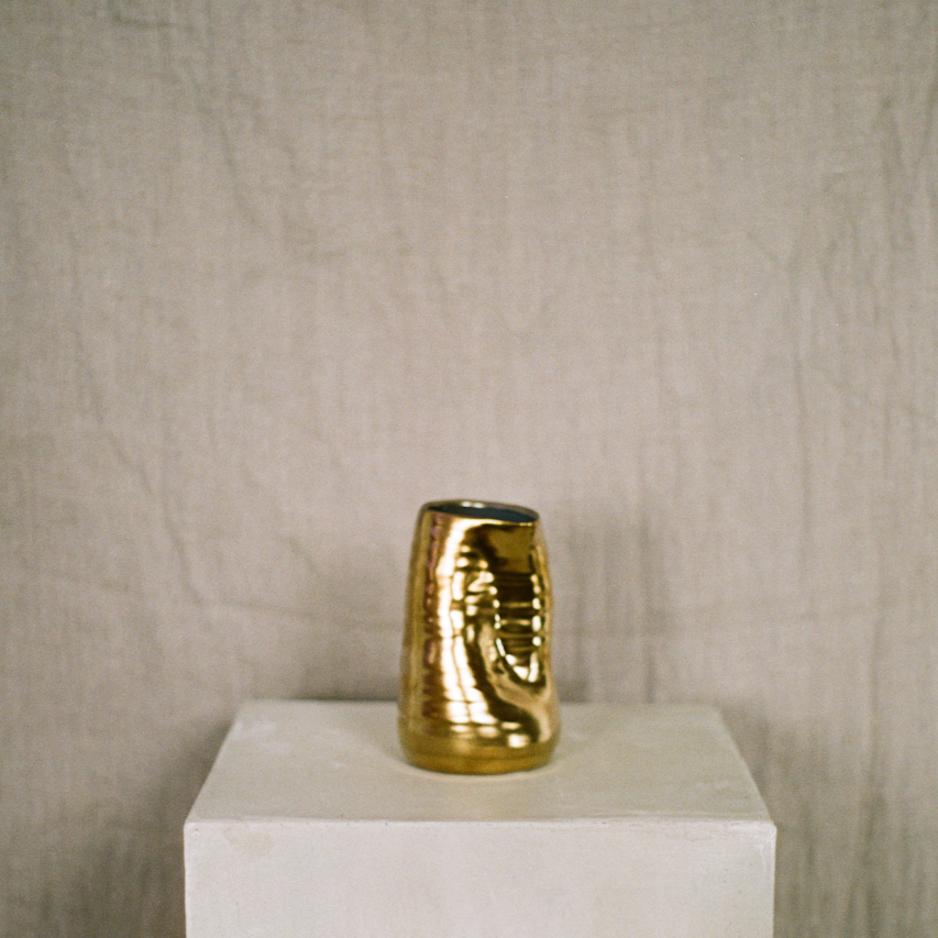 4 inch tegan crushed short ceramic gold vase available at Rook & Rose