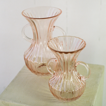 4 inch pink glass vase available at Rook & Rose