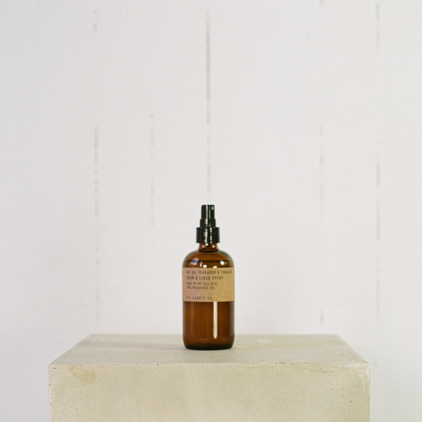 P.F. Candle Co. Teakwood & Tobacco room spray available at Rook & Rose