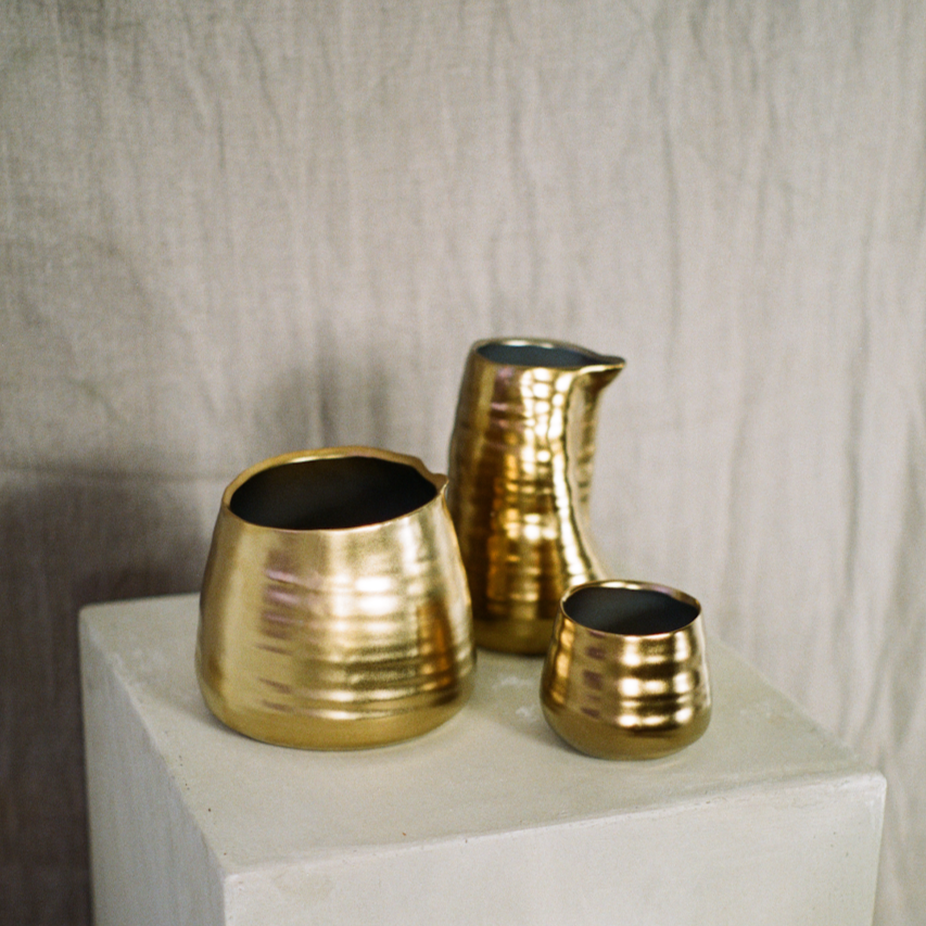Assorted tegan ceramic gold vases available at Rook & Rose