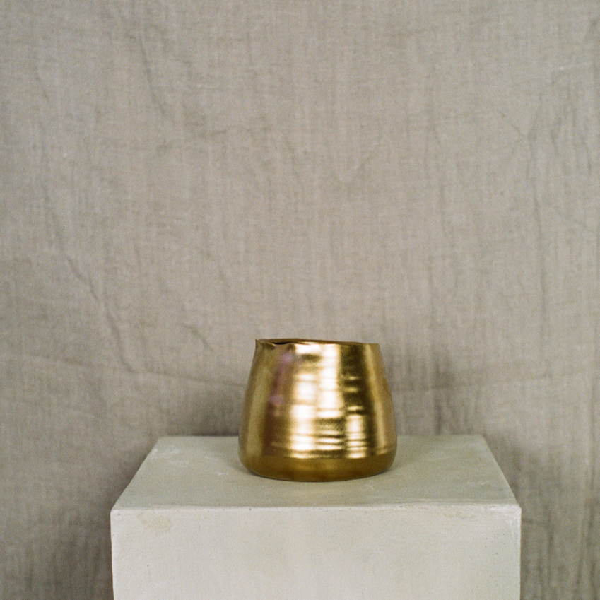5 inch tegan ceramic gold vase available at Rook & Rose