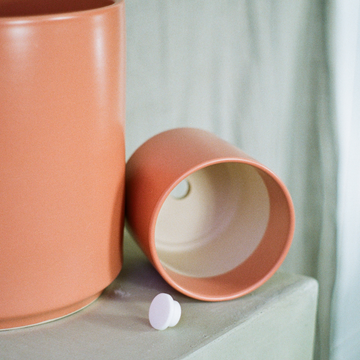 5 inch peach ceramic plant pot available at Rook & Rose