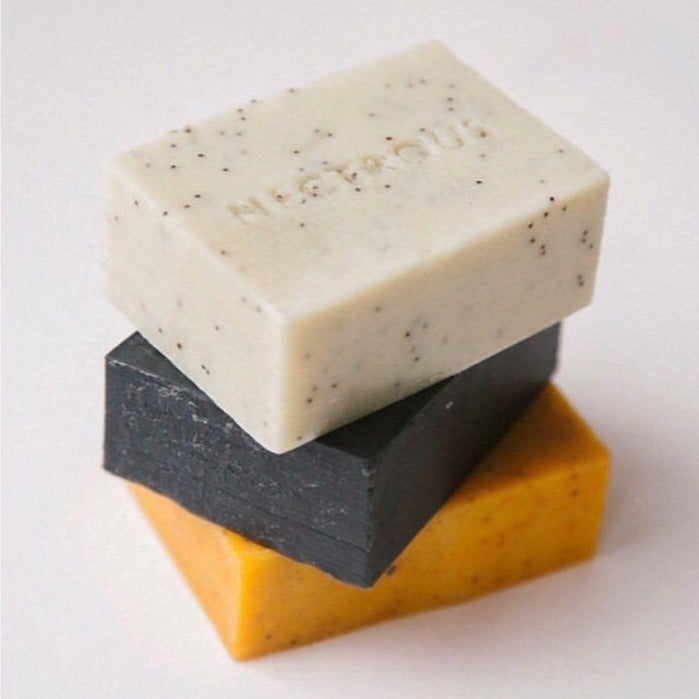 Three stacked Nectrous soap bars available at Rook & Rose in Victoria BC.