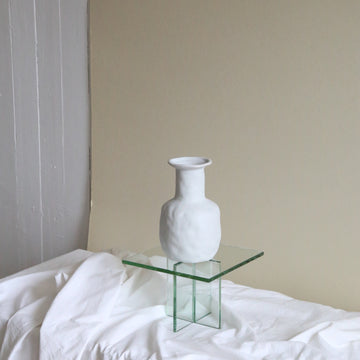 Large white textured ceramic bottle vase available at Rook & Rose