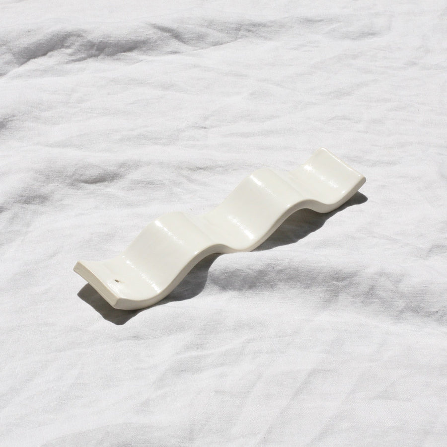 Rachel Saunders white ceramic incense holder available at Rook & Rose