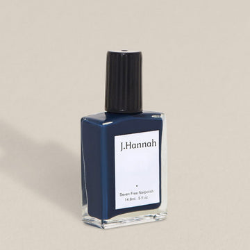 J.Hannah nail polish in Blue Nudes, a dark navy blue colour, available at Rook & Rose in Victoria, British Columbia, Canada