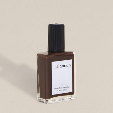 J.Hannah nail polish in Carob, a coffee brown colour, available at Rook & Rose in Victoria, British Columbia, Canada
