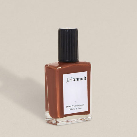 J.Hannah nail polish in Ghost Ranch, a dark dessert clay colour, available at Rook & Rose in Victoria, British Columbia, Canada