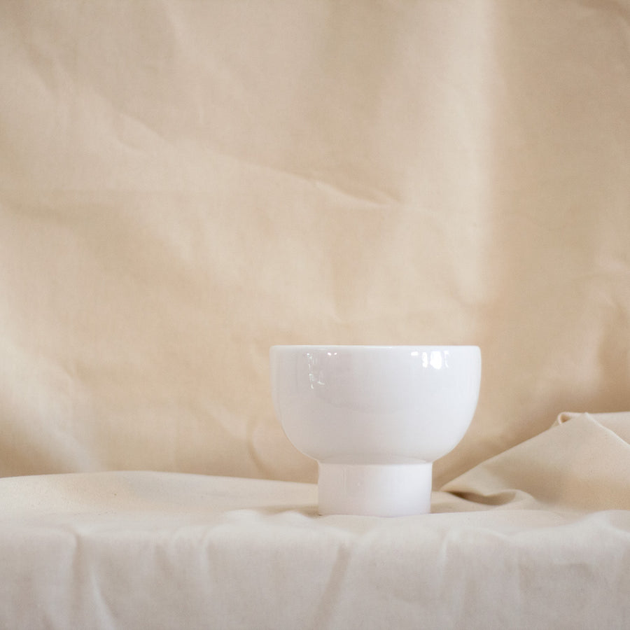 White glazed bowl shaped vase available at Rook & Rose, Victoria, British Columbia, Canada