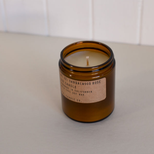 Sandalwood and Rose scented candle in an amber glass container by P.F. Candle Co. available at Rook & Rose in Victoria, British Columbia, Canada