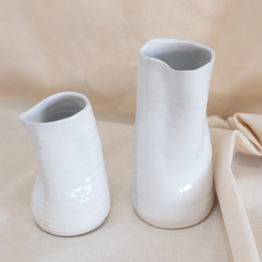 White crushed ceramic vase available at Rook & Rose in Victoria, British Columbia, Canada