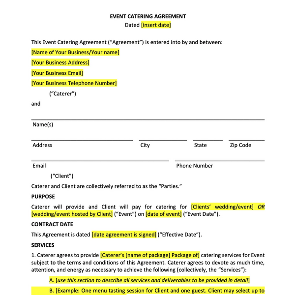 Wedding Catering Contract Template