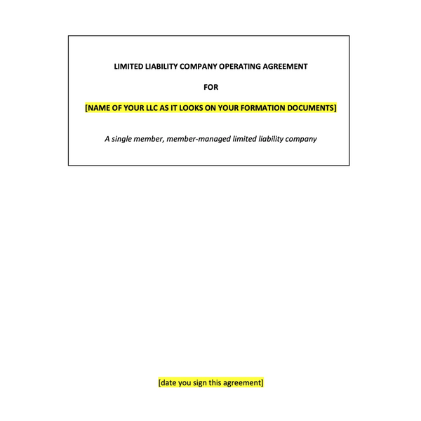 Single Member Limited Liability Company Operating Agreement Template