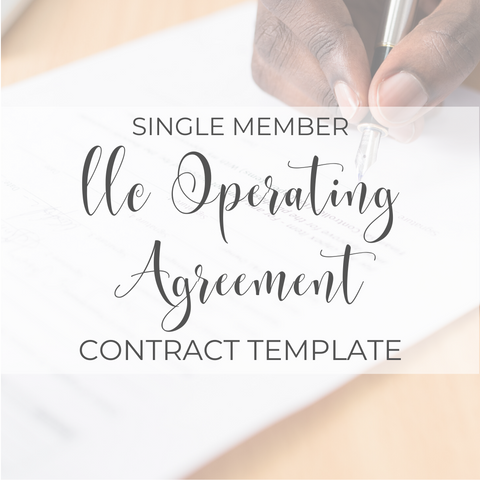 Single Member LLC Agreement Contract Template