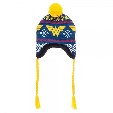 DC Comics Wonder Woman Fairisle Laplander Beanie Winter Hat