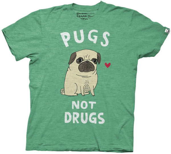 Pugs Not Drugs Gemma Correll Adult Mens Heather Green Tee
