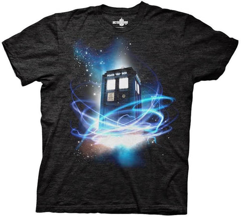 Doctor Who Tardis In Space Men's Tri-Blend Black T-shirt