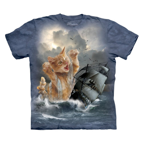 The Mountain Krakitten Kitten Kraken Adult Blue T-Shirt