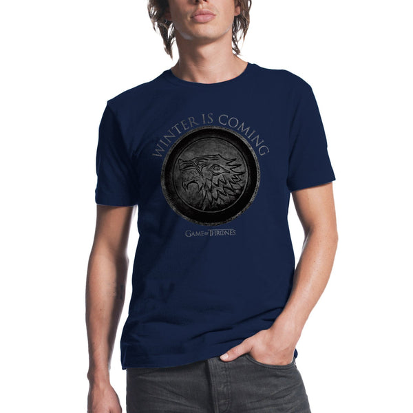Game of Thrones Winter Is Coming Circle Men's Navy T-Shirt