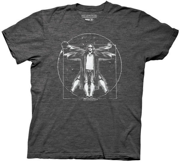 The Big Lebowski Vitruvian Mens Charcoal Heather T-Shirt