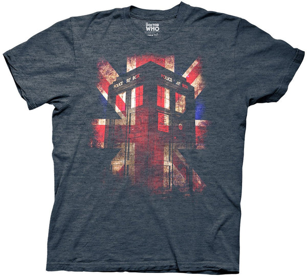 Doctor Who Tardis Union Jack Glow Mens Navy Heather T-Shirt
