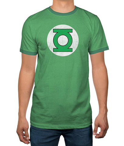 DC Comics Justice League Green Lantern Logo Licensed Ringer Mens T-Shirt