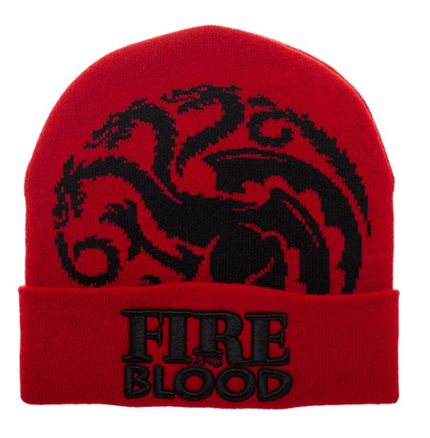 Game Thrones House Targaryen Fire Blood Red Winter Hat Beanie