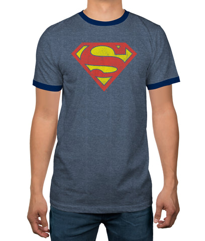 DC Comics Superman Heather Blue Ringer Mens T-shirt