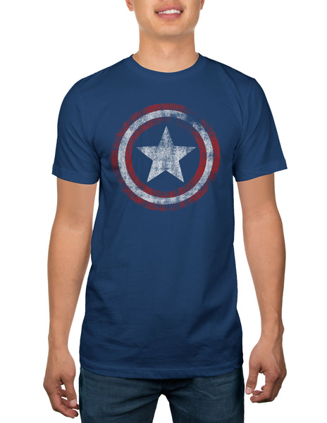 Captain America Distressed Shield Men's Navy T-shirt