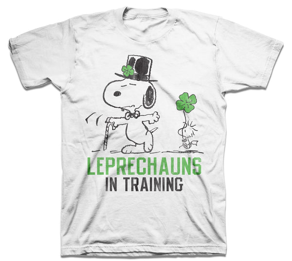 Peanuts St Paddys Day Snoopy and Woodstock Leprechauns in Training Adult T-shirt