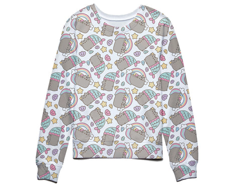 Pusheen The Cat Rainbows Unicorns and Mermaids Juniors Sweatshirt