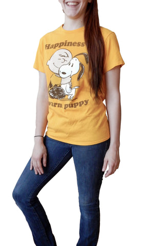 Peanuts Happiness is a Warm Puppy Adult Gold T-shirt