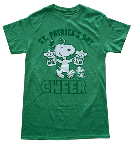 Peanuts Snoopy St Patrick's Day Cheer Double Up Adult Green T-Shirt